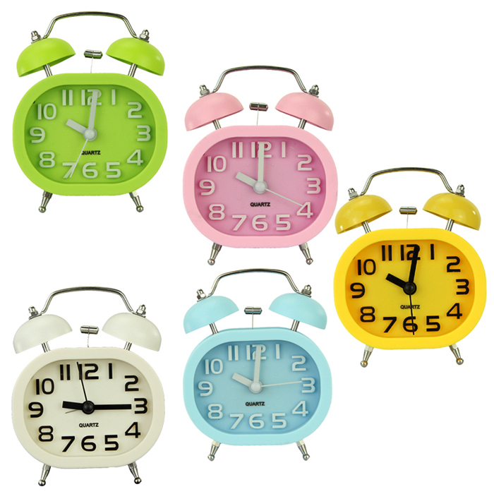 Fashion Oval Twin Double Bell Desk Alarm Clock with Nightlight Loud Alarm for Travel Boys Girls Children Teens Heavy Sleepers(China (Mainland))