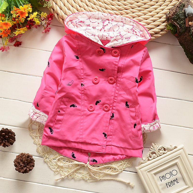 Retail 2015 Spring New Baby Girls Thin Cotton Jacket Coat Child Hooded Little Feet Printed Double