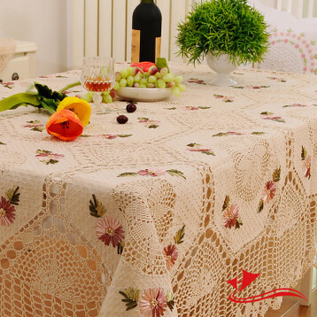 S&V New Arrivals Cotton&Jute Hand crochet tablecloth Rural cloth embroidered tablecloths Hollow out hook flower table cover(China (Mainland))