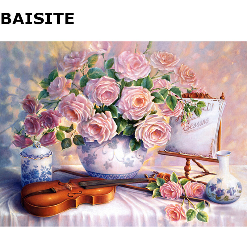 BAISITE Frameless Pictures DIY Oil Painting By Numbers On Canvas Wall Painting For Living Room Wall Art Home Decor H542 40*50cm(China (Mainland))