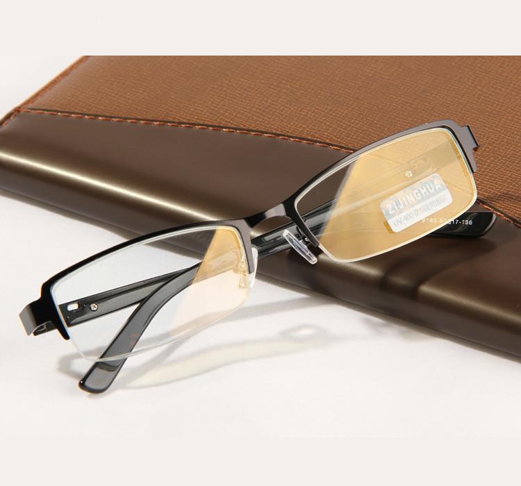 Radiation Resistant Half Frame Computer Goggles Anti Fatigue Gold film Metal Glasses Frame(China (Mainland))
