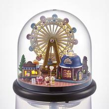Crystal Ball Glass Dollhouse Kit Happiness Ferris Wheel DIY Manual Model Handmade Creative DIY Assembled Miniature Scenes