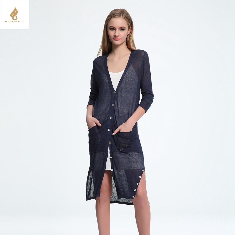 New summer Long knitted Cardigan Fashion font b women s b font clothing slim thin Long