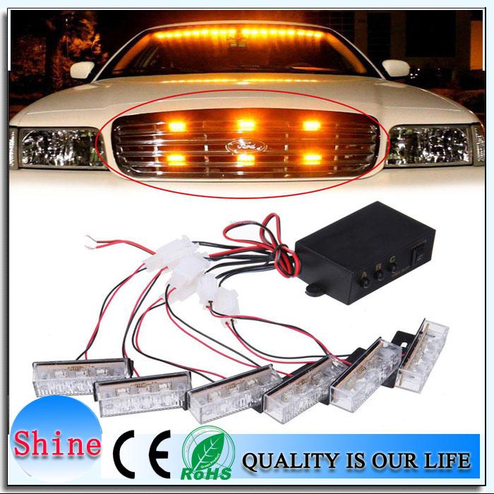 Car Styling 6X3LED DC 12V Car LED Strobe Lightbar /Mini Lightbar/Red and Blue Flash Dash Light/Amber Lightbar/Emergency Lightbar(China (Mainland))