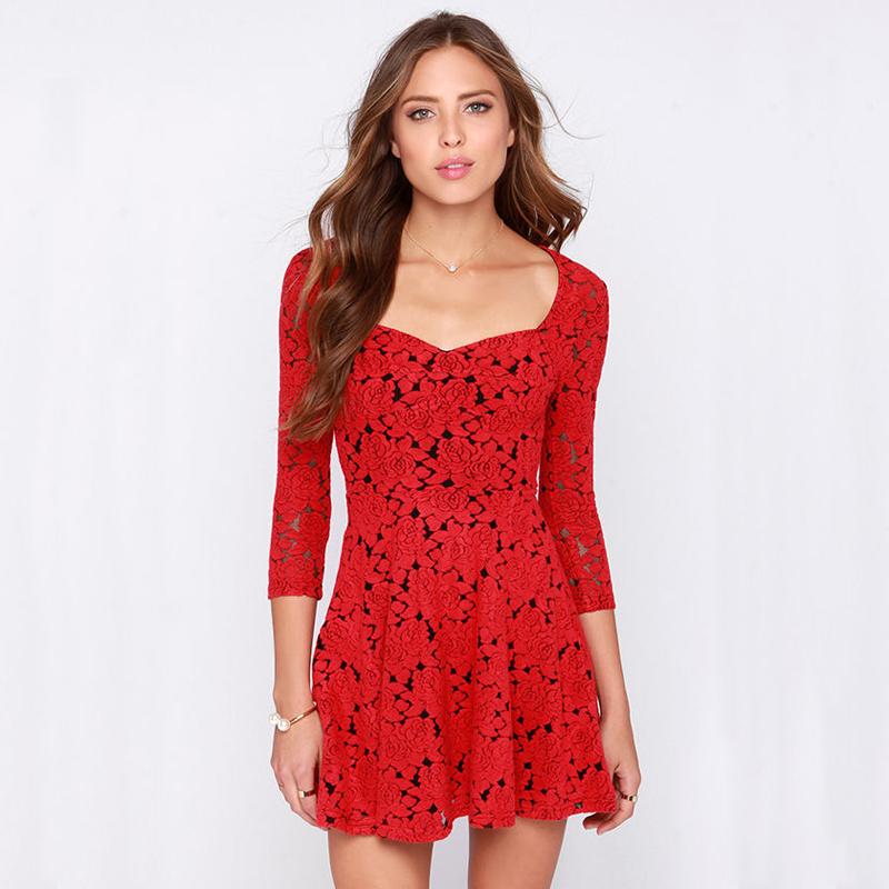 2015 Women Lace Flower Print Red Dress Sexy Party &Club dress Hollow Casual mini Embroidery Dresses vestido de festa Y1023-79E(China (Mainland))