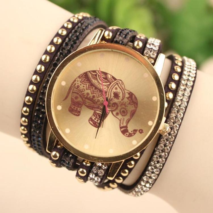 New Sale 2015 Popular Diamond Jewelry Quartz Watch Women Dress Watches Relogio Feminino Fashion Elephant Pattern Bracelet Watch(China (Mainland))
