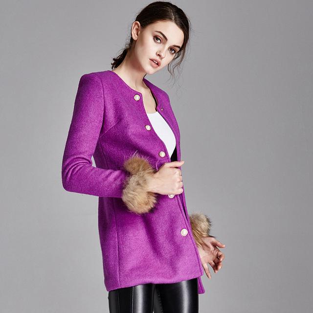 2016 зима осень куртка женская одежда шерстяной мех енота женщина пальто женщин O-образным Вырезом Тонкий полный рукавом шерсть и casaco feminino