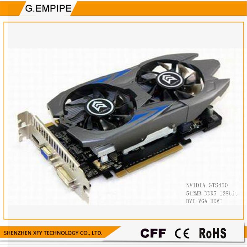 original graphics card Desktop computer game for Nvidia Geforce GTS450  DDR5 128bit DVI+VGA+hdmi free shipping<br><br>Aliexpress