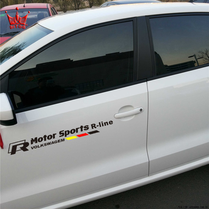 2pcs=1pair/lot Door/Body Car styling Sport R-line Stickers Germany Team volkswagem Car Sticker Decals for VW/Polo/Golf/CC(China (Mainland))