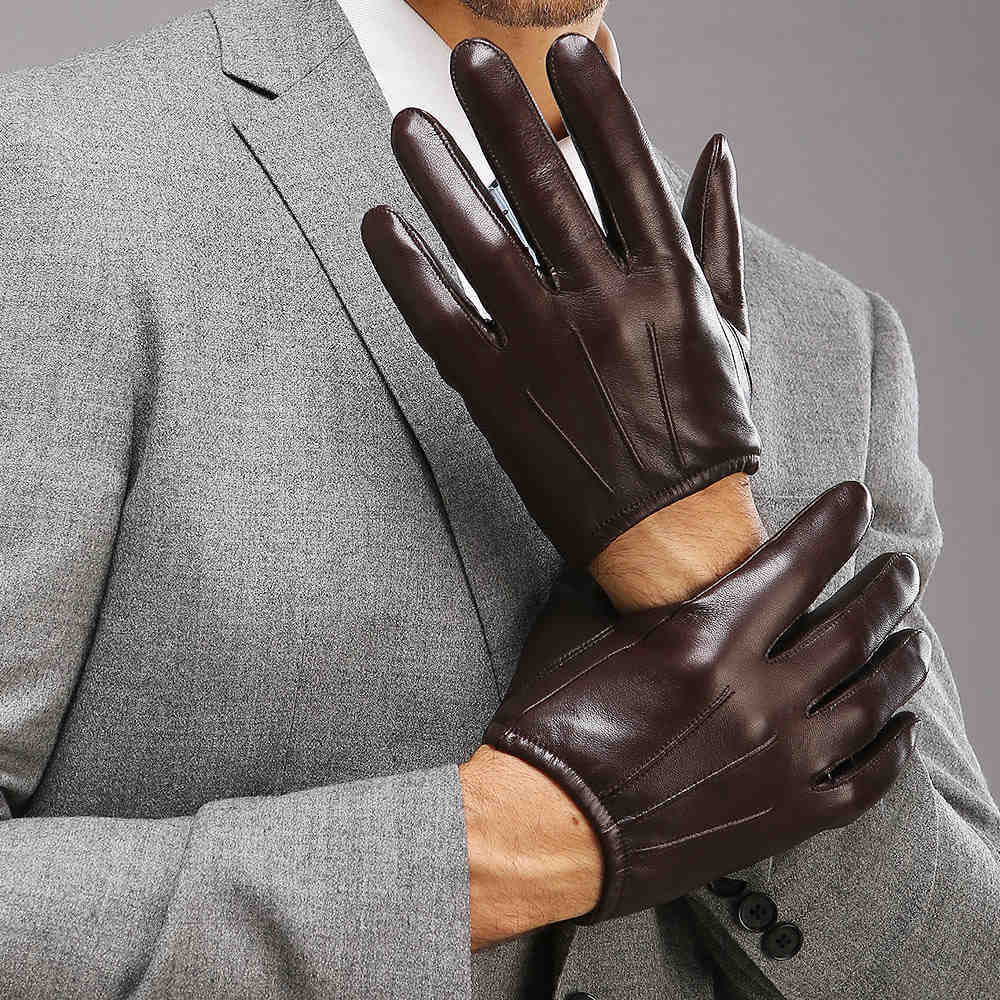 Driving gloves auckland - 2016 Top Fashion Men Genuine Leather Gloves Wrist Sheepskin Glove For Man Thin Winter Driving Five Finger Rushed1