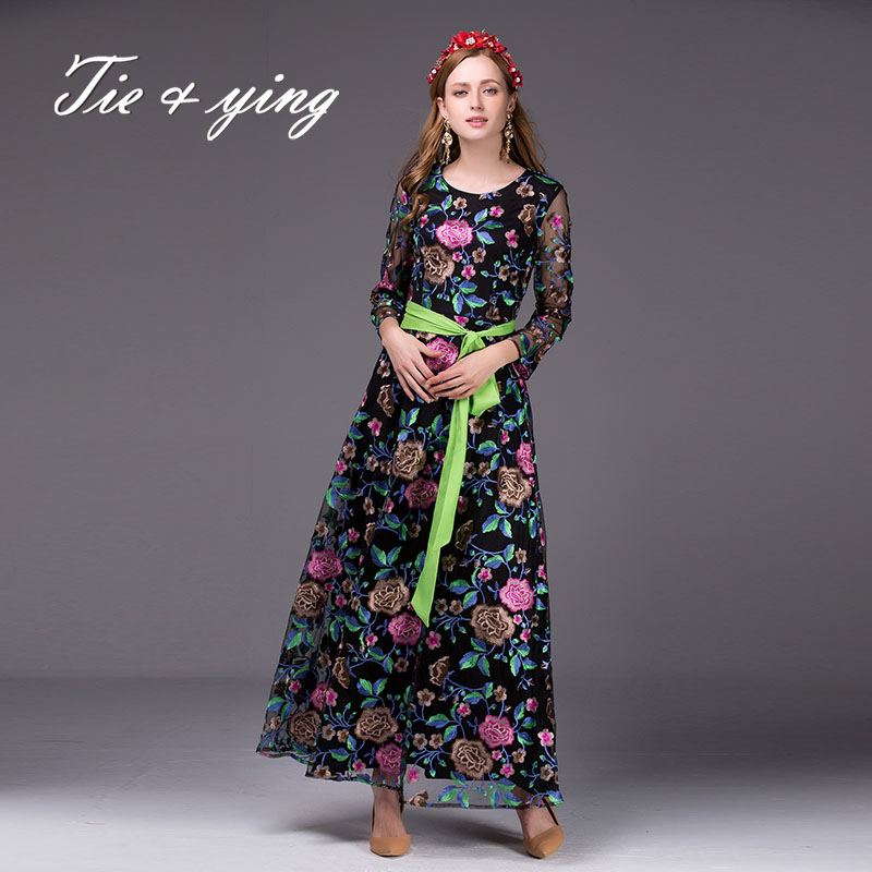 High-end vintage royal embroidery chinese style elegant 2016 new autumn runway bohemian women belt floral party full dresses(China (Mainland))