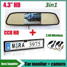 4.3''  car monitor mirror and 2.4G wireless CCD HD Car parking reverse rear view camera License Plate Frame For EUR European Car(China (Mainland))