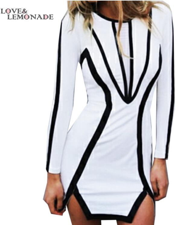 Stylish black and white long-sleeved dress stitching bodycon. Party dress TB 6833(China (Mainland))