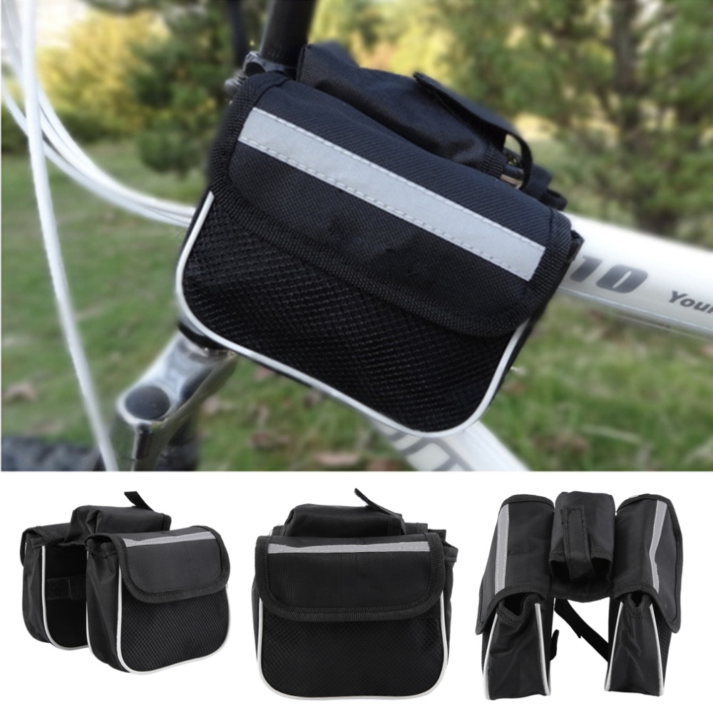 Bicycle Cycling Frame Pannier Saddle Front Tube Bag Both Side Double Pouch free shipping<br><br>Aliexpress