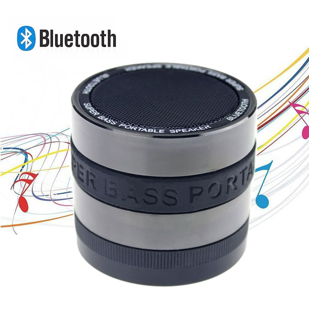 1pcs Black Portable Wireless Bluetooth Speaker 3W Stereo Audio Sound Outdoor Subwoofer Speaker For iPhone MP3 MP4 Free Ship(China (Mainland))