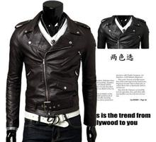 Slim casual men's coats stand collar cropped oblique zipper PU leather motorcycle leather men leather jacket(China (Mainland))