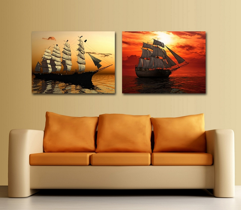 Beautiful boat painting wall pictures decoration home artwork for living room modern paintings gift for firends(China (Mainland))