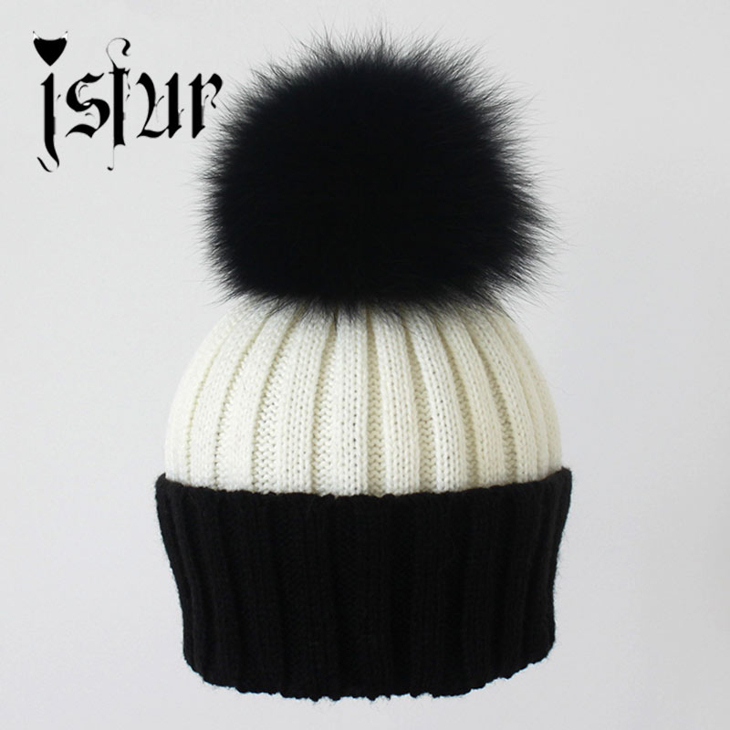Fashion Women's Winter Knitted Fur Beanie Hats With Real Raccoon Fur Pompoms Caps Ear Protect Causal Fur Hats For Women(China (Mainland))
