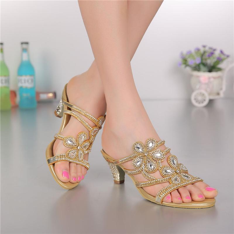 women shoes casual genuine leather party Rhinestone med heels slippers women slipper for women ladies Crystal slipper GS-T014GDC<br><br>Aliexpress