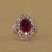 Brand new original 6 carat SONA synthetic diamond fashion ring 925 sterling silver ruby ring US