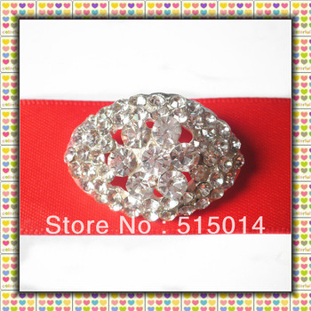Free Shipping !Oval Rhinestone Cluster with Bar Back,Ribbon Rhinestone Buckle for Invitation,Price Negotiable For Large Order