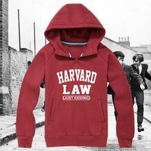 Harvard Law funny cap sleeve tee hoodies sweatershirts just kidding coat harvard university pullover colleage suit sports wear(China (Mainland))