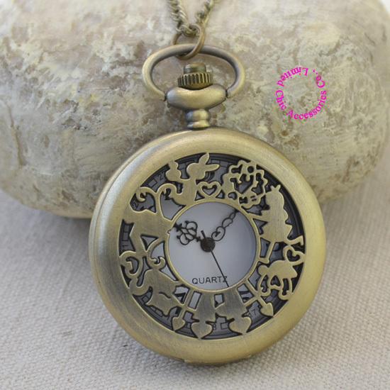fashion quartz antique pocket watch woman alice wonderland rabbit cat women vintage fob watches retro new bronze color arabic - Chic Watches store