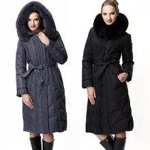 New 2014 Winter Jacket Women Fashion Fox Fur Collar Thickening Ultra Long White Duck Down Jackets Women's Down Coat Parka 2126