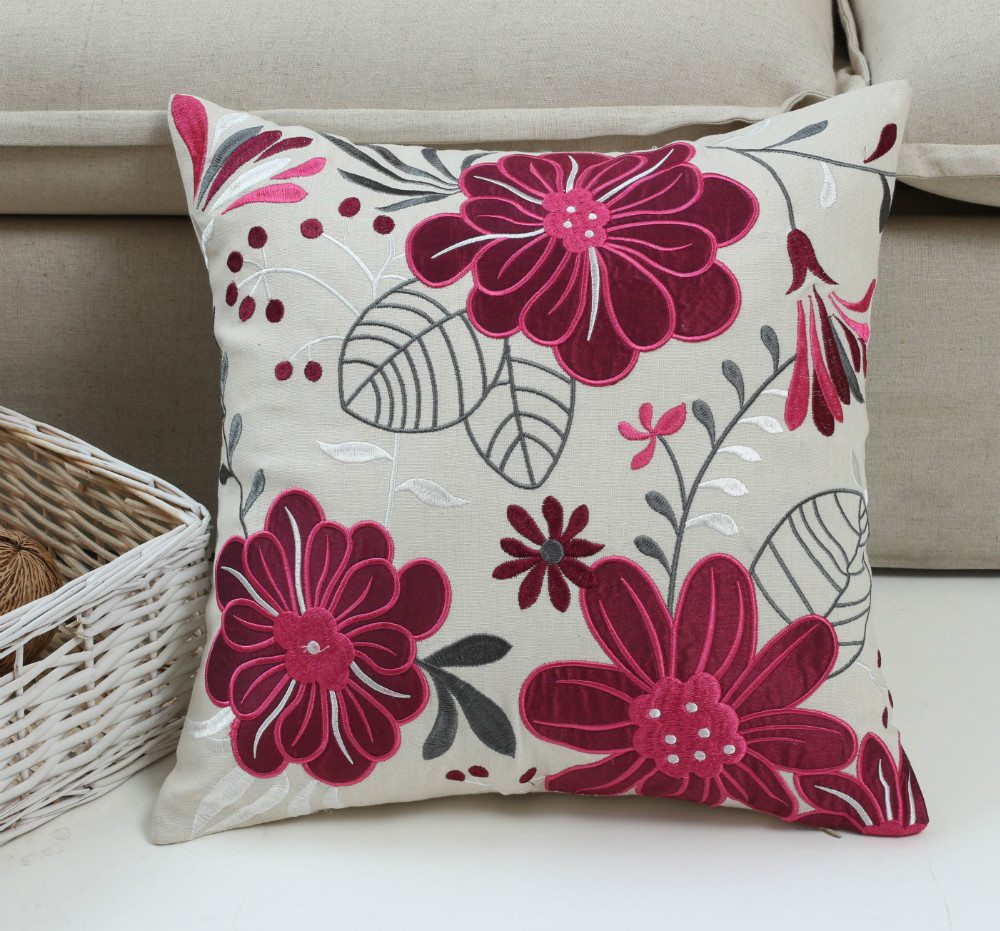 Modern Embroidered Throw Pillow : Aliexpress.com : Buy purple applique embroidered floral sofa modern cushions throw pillows ...