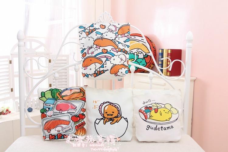 Newest Japan kawaii gudetama kirimi canvas totes cartoon shoulder shopping lunch student bag free shipping SDKJ3729(China (Mainland))