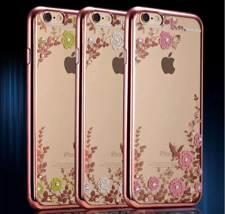 Fashion Flora Diamond Case for Apple iPhone 6 /6S for iPhone 6 Plus /6S Plus Chic Flower Bling Soft TPU Clear Phone Back Cover(China (Mainland))