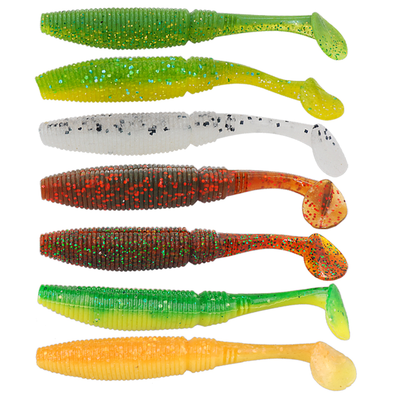 Free Shipping 15pcs Soft Bait 7.5cm 3.8g Fishing Lure Iscas Artificial Para Pesca T-tail Silicone Baits Leurre Souple Mer Peche(China (Mainland))