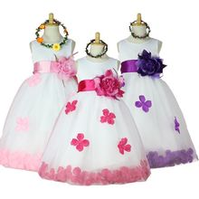 2016 Girls Bridesmaid Dress Rose Petal Hem Cute Princess Tutu Dress Girls Clothing Sets Wedding Birthday Vestidos