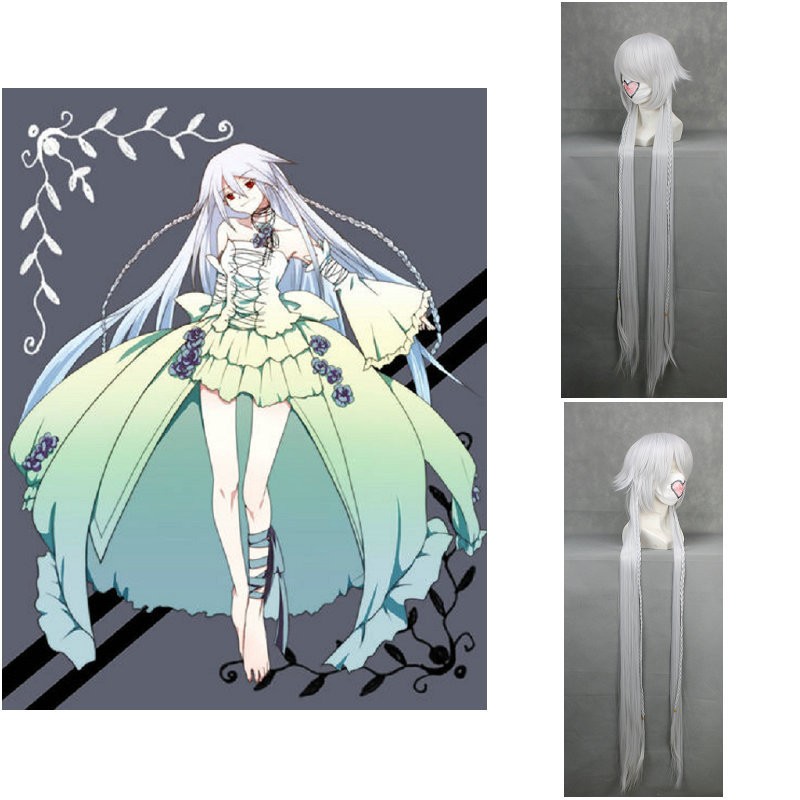 Alice Silver White Straight Cosplay Pandora Hearts Wig Long Straight White anime Party Wig+wig cap free shipping<br><br>Aliexpress