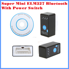 New Arrival Diagnostic Tool code reader OBDII/OBD/CAN Super mini ELM327 Bluetooth with power switch free shipping(China (Mainland))