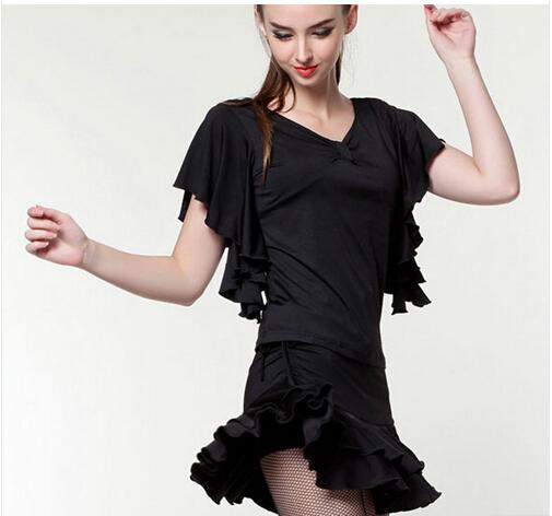 Free Shipping Discount High Quality Women Lady Ruffly Batwing Butterfly Sleeve Flamenco Dresses Top Shirt Flamenco 2017