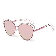 New fashion real metal frame sunglasses women brand designer retro vintage sunglasses cat eye glasses oculos de sol feminino(China (Mainland))