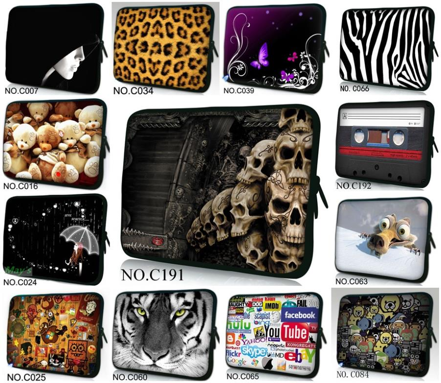 "Classic Skull Many Designs 13"" Universal Laptop Sleeve Case Bag Cover For 13.3"" Apple MacBook Pro/HP Folio Thinkpad VAIO(China (Mainland))"