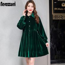 Nerazzurri קטיפה שמלת נשים קפלים חם שחור ירוק ארוך שרוול קטיפה שמלת כפתור הברך אורך בתוספת גודל סתיו שמלת 6xl 7xl(China)