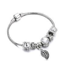 Bobosgirl Jewelry Women Charm Bracelet Purple Crystal Silver Key Heart Beads Ladies Chain Bangles Accessories DIY Pulseras mujer(China)
