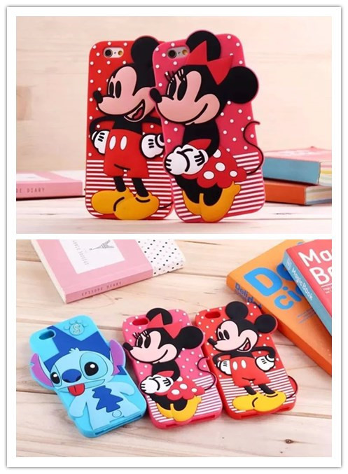 For Apple iPhone 6 plus Cartoon Character Mickey Minnie Mouse Stitch Soft Silicone Mobile Phone Case Cover(China (Mainland))