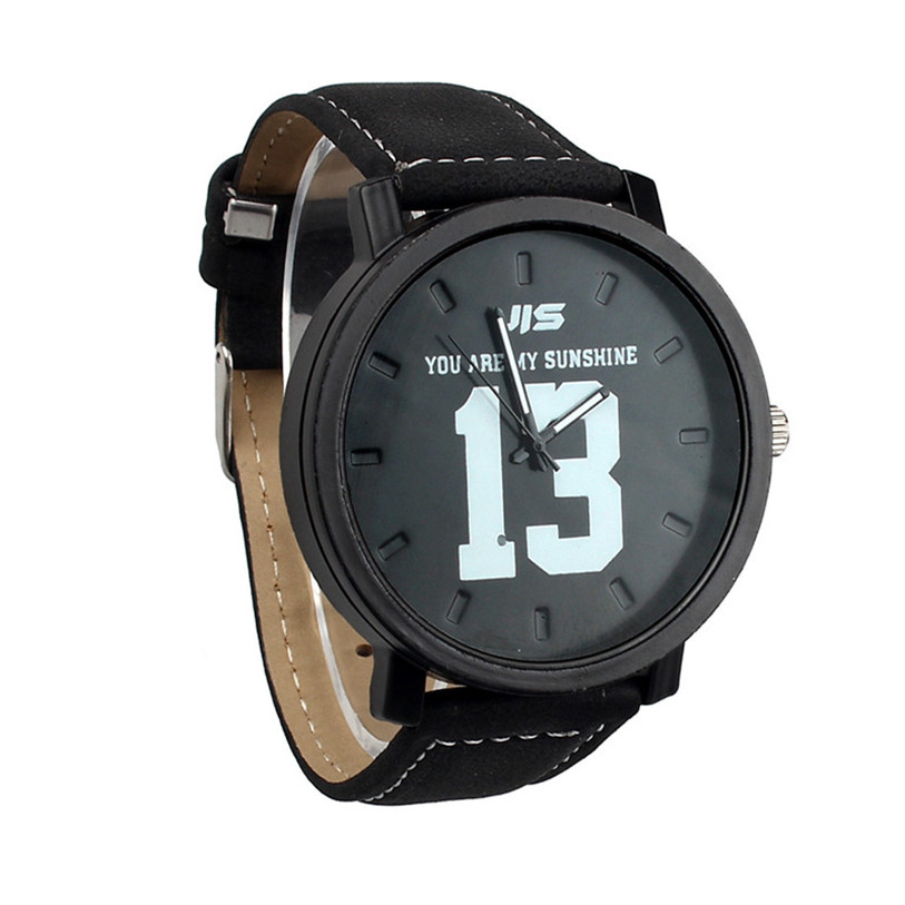 Улучшенный мода кожаный ремешок кварцевые аналоговые наручные часы для любителей July8