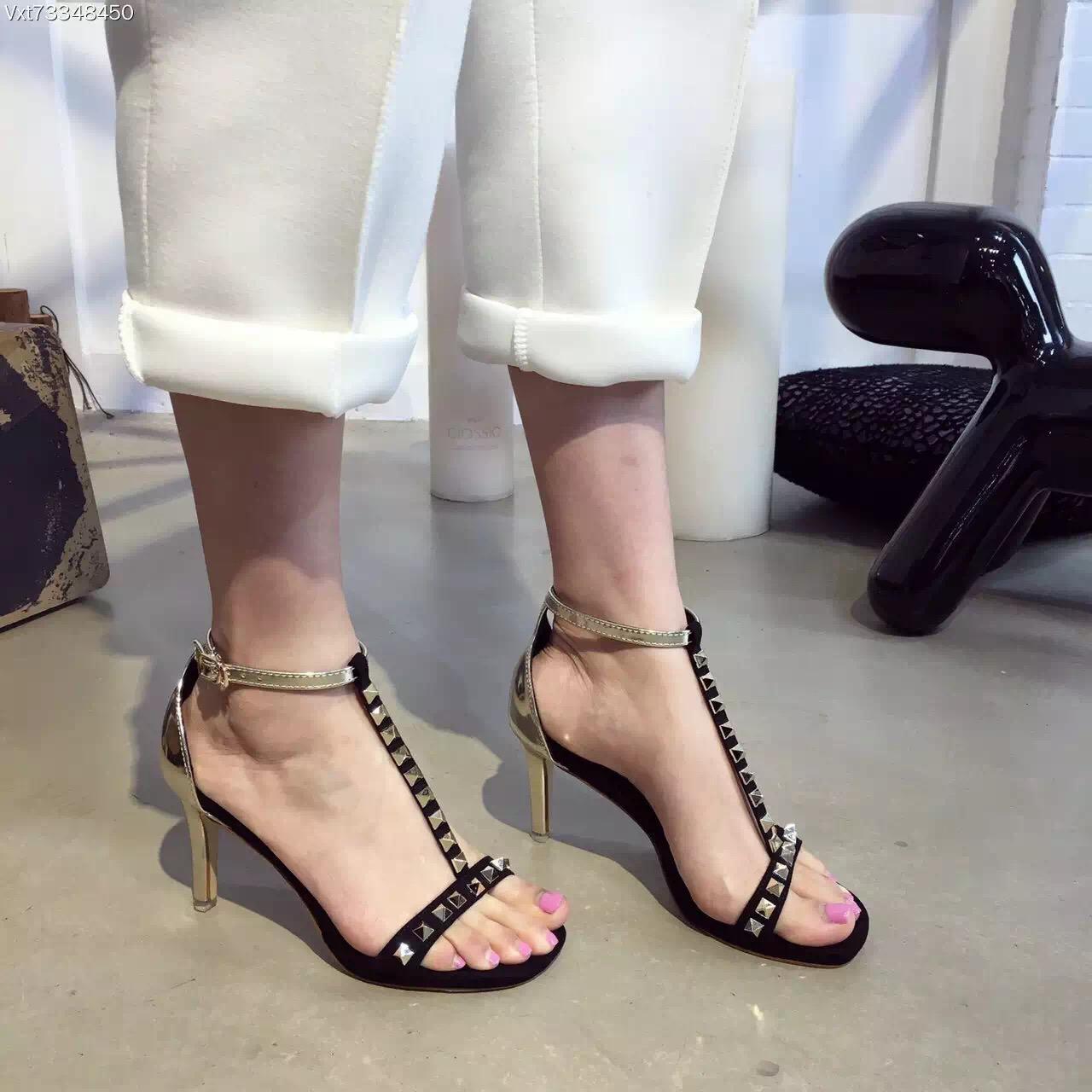 2016 Sexy Fashion Rivets High Heel Sandals Gold Heel 8.5cm Platform 1cm Comfortable Summer Sandals Black Red Silver Suede(China (Mainland))