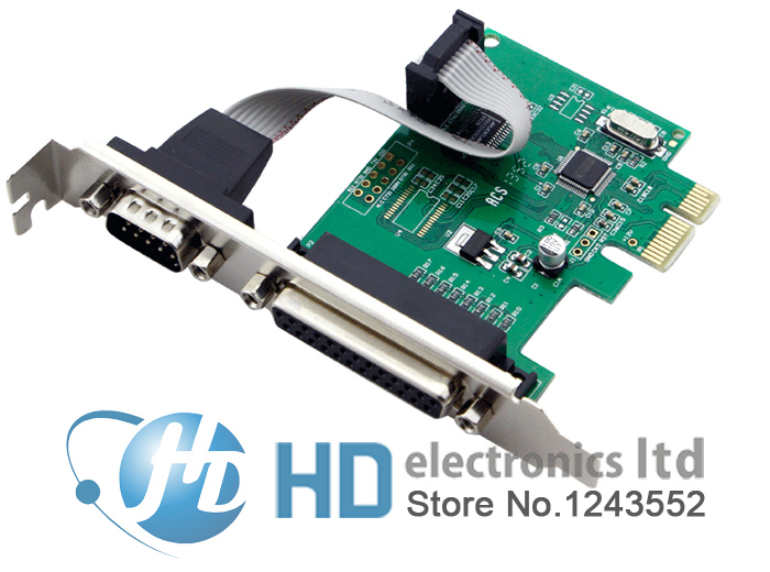 RS232 RS-232 Serial Port COM & DB25 Printer Parallel Port LPT to PCI-E PCI Express Card Adapter Converter WCH382 Chip(China (Mainland))