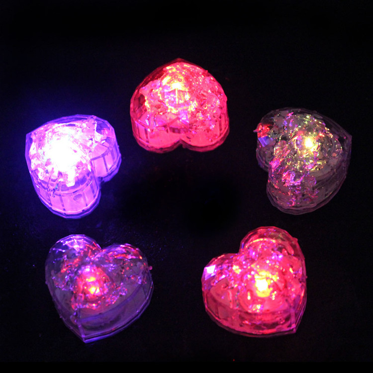 20pcs/lot Luminary light up toys Heart Shape Wedding flash Ice Cubes LED Glow Novelty Party Lights decoration supplies(China (Mainland))