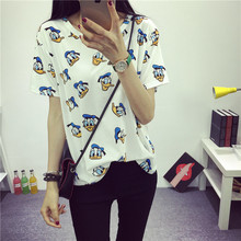 2016 Women's T-Shirt Summer Clothes Short-sleeve Dress O-neck Lovely Printed Short Bottoming Tops 9 Types Free Shipping(China (Mainland))