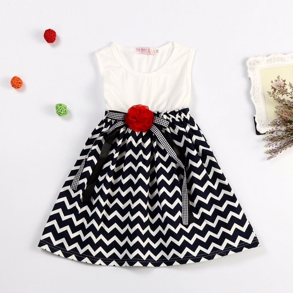 2017 Summer Baby Girl Brand Dress Wavy Striped Princess Dress For Toddler Girl Birthday Outfits 3-8 Years Old Kids Party Clothes(China (Mainland))