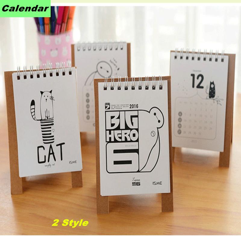 Cartoon kalender 2016 mini tisch calendario süße katze& baymax ...