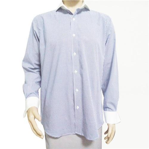 Precious Mens Dress Shirts French Cuff Blue Plaid Mens
