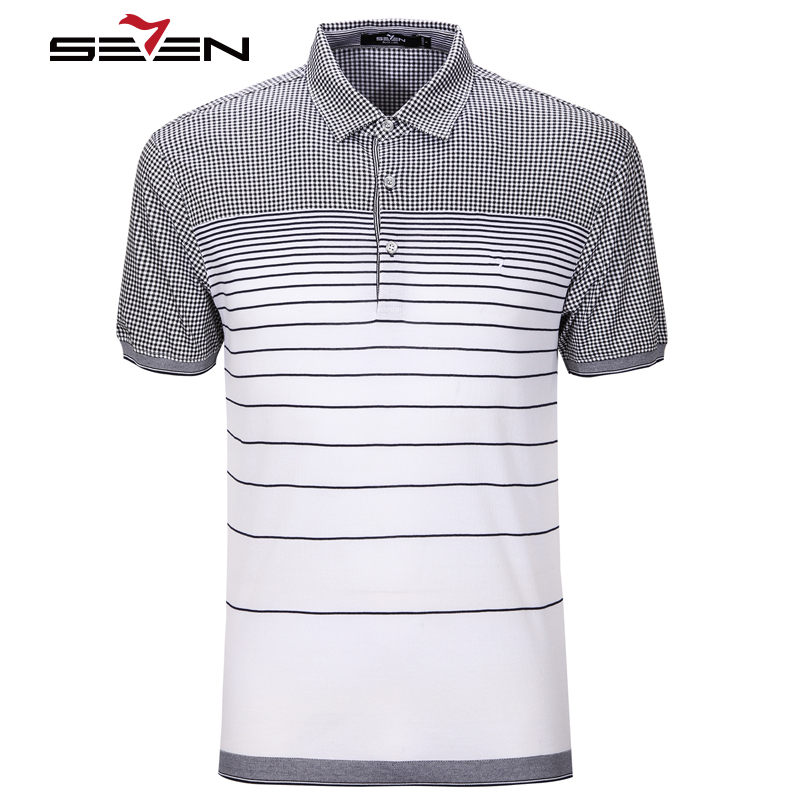 Seven7 Brand Summer Men Polo Shirt Short Sleeve 100% Cotton Striped Polo Business Casual Men Performance Polo Shirts 704T5166(China (Mainland))
